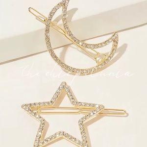 💫Moon & Star Gold Pavé Hair Clips